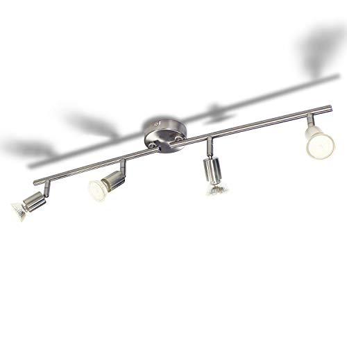 Wowatt Lámpara de techo LED Plafón con Focos Giratorios 4X Bombillas GU10 Bajo consumo 6W 230V 2800K Blanco cálido 600lm 83Ra IP20 Níquel Mate Longitud 68cm