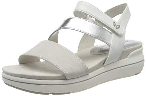 MARCO TOZZI 2-2-28555-24, Sandali con Cinturino alla Caviglia Donna, Bianco (White Comb 197), 41 EU