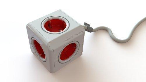 Design Tischsteckdose (für 5 Schukostecker, hübscher Stromverteiler, Kindersicherung, rot)