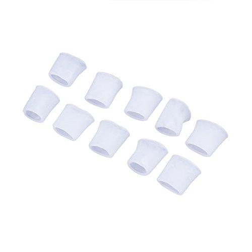 Rosenice Gel-Schutzkappen für Zehen, zur Schmerzlinderung, 5 Paar (weiß)