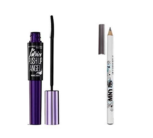 Kit Gemey Maybelline Push Up Angel Mascara, 9.5 ml - Very Black/Noir + Crayon Yeux Waterproof inclus (gris)