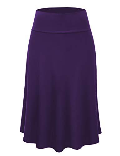 Lock and Love LL WB1105 Womens Lightweight Fold Over Flared Midi Skirt XXXL Dark_Purple