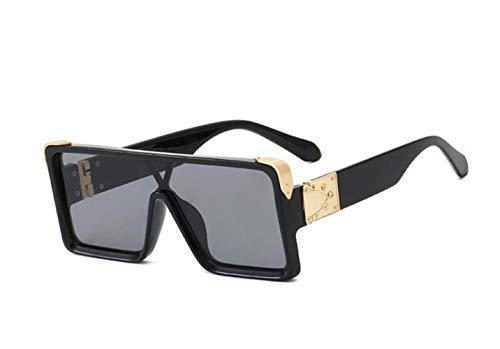 AMK Gafas de sol para hombre y mujer, gafas de sol cuadradas negro negro