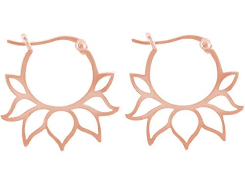 Gemshine YOGA Creolen Ohrringe Lotus Blumen Ohrhänger in 925 Silber, hochwertig vergoldet oder rose. Nachhaltiger, Fair Trade, qualitätsvoller Schmuck Made in Spain, Metall Farbe:Silber rose vergoldet