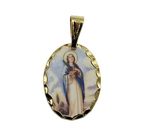 Virgen del Valle medalla Venezuela–Nuestra Señora de la medalla de Valle medalla de 14K chapado en oro, con 18pulgadas cadena