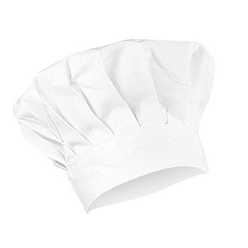 Gorro de chef de cocina de Bigboba de color blanco, de algodón, ajustable, para adultos, accesorio de cocina para restaurantes, hoteles, fiestas o barbacoas, algodón, Blanco, Large