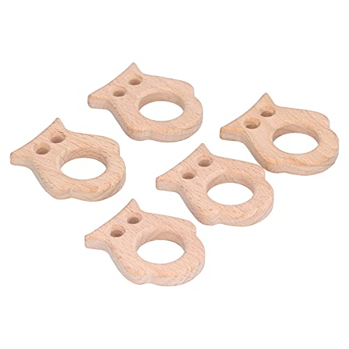 5 piezas de mordedor de madera para bebés, juguete para aliviar el dolor en forma de búho para la dentición, la superficie lisa es adecuada para hacer collares y pulseras de bricolaje
