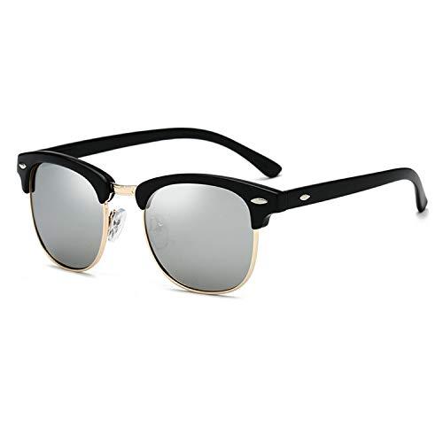 Yidarton Sonnenbrille Damen Herren Klassische Polarisiert Retro Unisex Halbrahmen Sonnenbrille UV400 Sonnenbrille verspiegelt Brillen mit Etui (4-Silber)