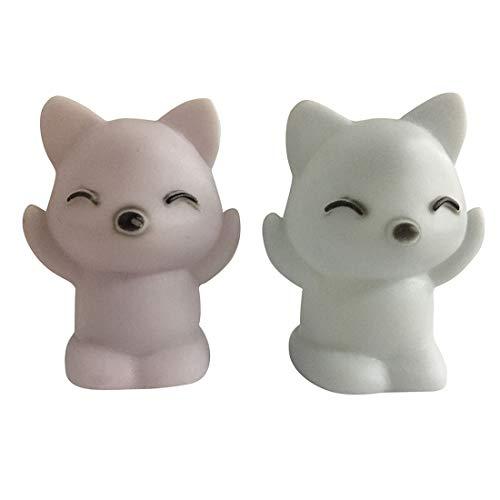 jiumoji 2 PCS 7 Changing Colors LED Night Light Vinyl Lovely Fox Shape Kids Lamp,Best Gifts for Baby Bedroom