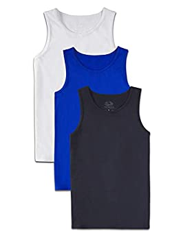 Fruit of the Loom Boys  Solid Multi-Color Soft Tank Tops 3 Pack WHITE/COBALT/BLACK Small