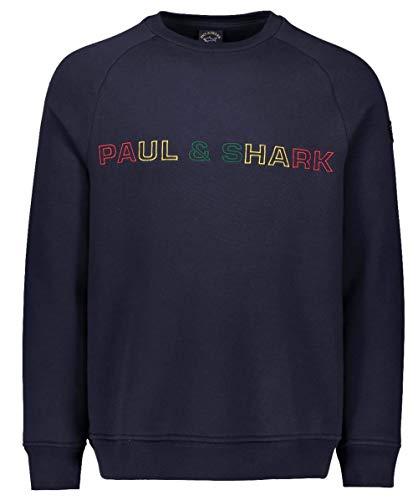 Paul and Shark Herren Sweatshirt mit Rundhalsausschnitt und Logo Marine L