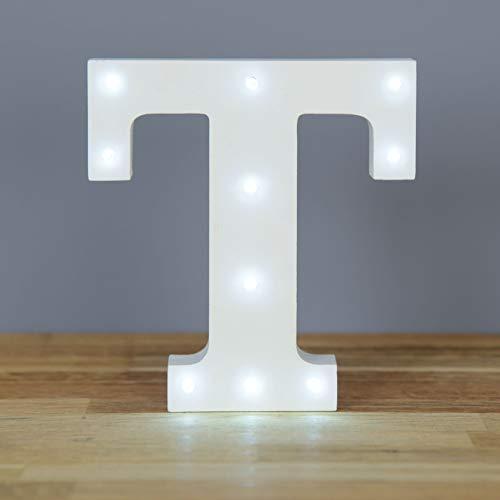 Up in Lights Muestra decorativa de madera blanca de las letras del LED - colgante de pared con pilas - Letra T
