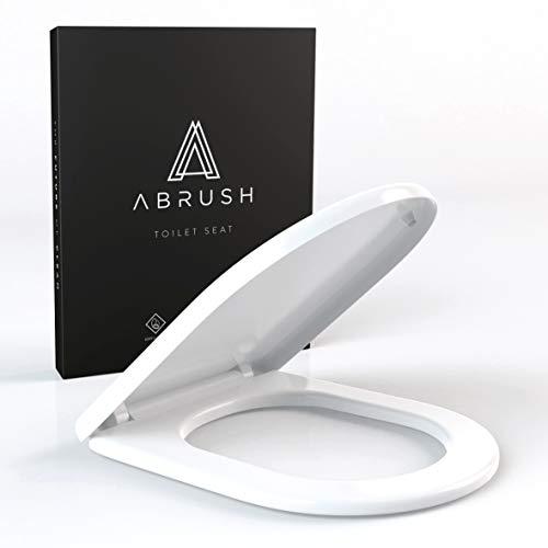 Abrush Toilettendeckel mit Absenkautomatik D-Form - Premium WC-Sitz Weiss inkl. Softclose - Klodeckel - Klobrille aus Duroplast - antibakterieller Toilettensitz passend für Duravit, V&B UVM