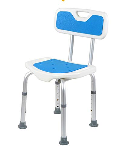 Accessori da bagno - Confortevole schienale pieghevole Bath Chair for gli anziani / disabili / donna incinta Altezza regolabile in lega di alluminio da bagno Anti-Skid Chair Max.130kg (Blu) Anti-Slip