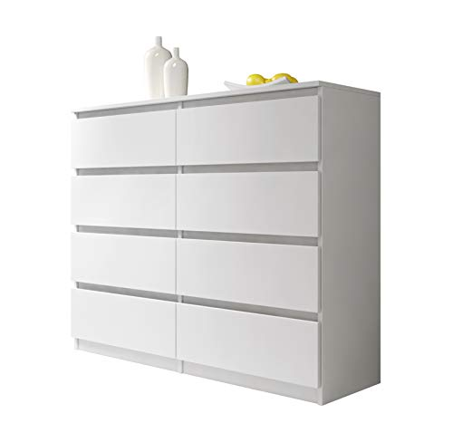 Furnix Arenal - Commode Salon/Meuble de Rangement (Blanc, 8 140cm, Style Classique)