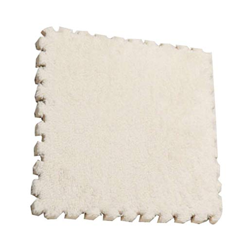 Lidahaotin Patchwork en Peluche Mousse Ramper Pad Puzzle Enfant Tapis Salon Chambre Paillasson au Sol Blanc