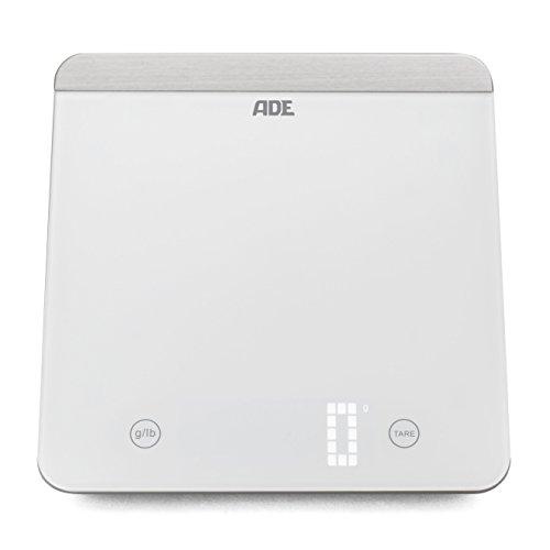 ADE Digitale Küchenwaage KE 1506 Farina. Elektronische Waage mit Wiegefläche aus gehärtetem Sicherheitsglas für präzises Wiegen bis 5kg. Mit Zuwiegefunktion (Tara), Sensor-Touch. Inkl. Batterie. Weiß