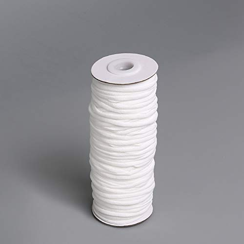 1/8 inch by 54 Yards White Elastic Rope for Sewing Crafts DIY Mask