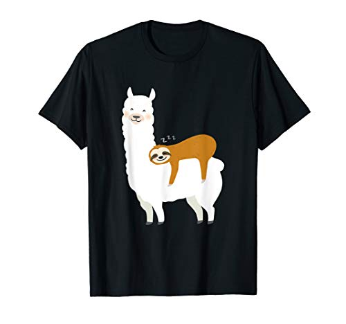 Faultier schläft auf Alpaka Lama T shirt