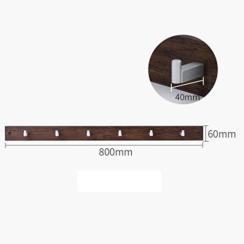Zwevende Planken,Houten Decoratieve,Zwevende Plank Tv-Componenten,Garage/Schuur/Magazijn/Vrijstaande Opslagplanken,Eiken Muurhanger-Walnut-6 Haak
