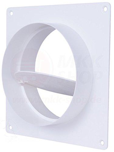 MKK Wandflansch Ø 100 mm Rund Rohr Kunststoff Wand Übergang Rückstauklappe Lüftung Montageplatte PVC