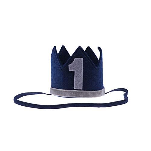 Toddmomy Kinder Bithday Hut Krone Hut Party Hüte Crown Haarband Foto Requisiten für Kinder 1St Geburtstag (Dunkelblau)