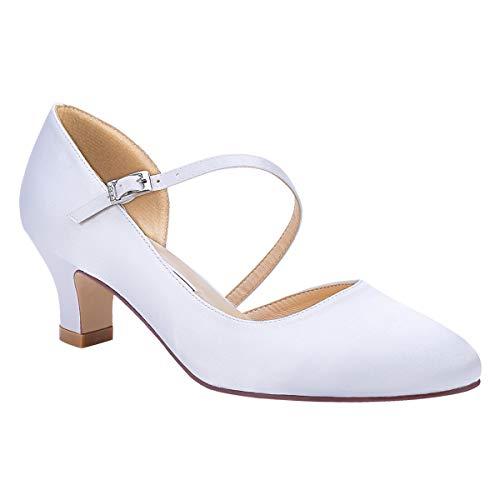 Duosheng & Elegant HC2002 Zapatos para Novia Tacon Medio Strappy Satin Zapatos...