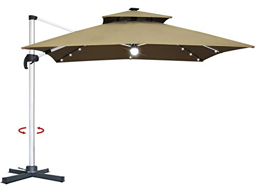 Mefo garden 10 by 10-Feet Offset Cantilever Umbrella, 360° Rotated Outdoor Patio Umbrella with Solar LED Lights for Garden, Backyard with Cross Base, 250gsm Square Canopy (Top)