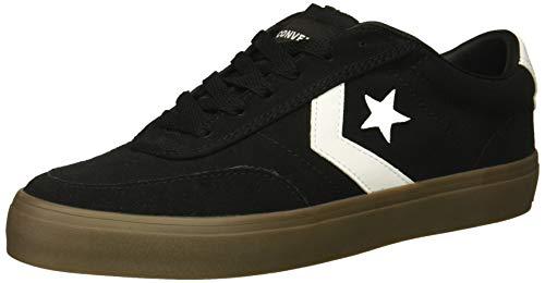 Converse Men's Courtlandt Suede Leather Accent Low Top Sneaker, Black/White/Brown, 7.5 M US
