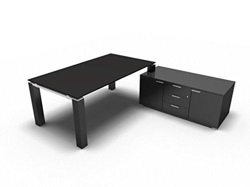 Chefschreibtisch JET EVO, Schreibtisch mit Sideboard, Glasschreibtisch, Design Arbeitszimmer, Chefzimmer, exklusive Büromöbel