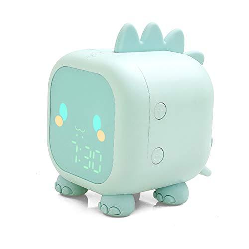 XKMY Reloj despertador para niños con diseño de dinosaurio, reloj despertador digital para niños, reloj de noche para niños y niños, para dormir con luz nocturna (color: verde)