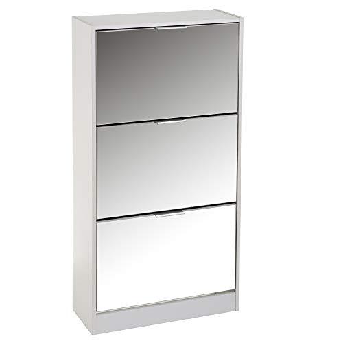 Zapatero Blanco de Madera MDF de 3 Puertas con Espejo de 115x24x60 cm - LOLAhome