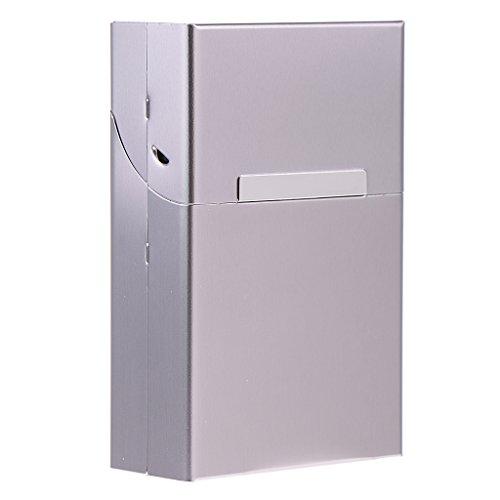 MagiDeal Aluminium Zigarettenschachtel, Zigarettenbox, Packungsetui, Zigarettenetui, Zigarettenhülle - Grau