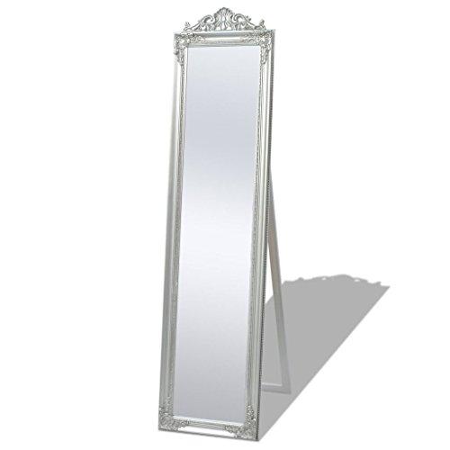 vidaXL 243693 Standspiegel Ankleidespiegel im Barock-Stil Landhaus 160x40 cm Silber, Holz, One Size