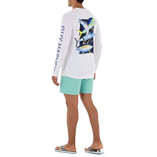 Guy Harvey Men's Offshore Slam Raglan Sleeve Sun Protection Top, Bright White, Small