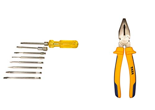 Tata Agrico Combo Pack (Screwdriver Set- of 8 and Combination Plier 8inch/200mm)