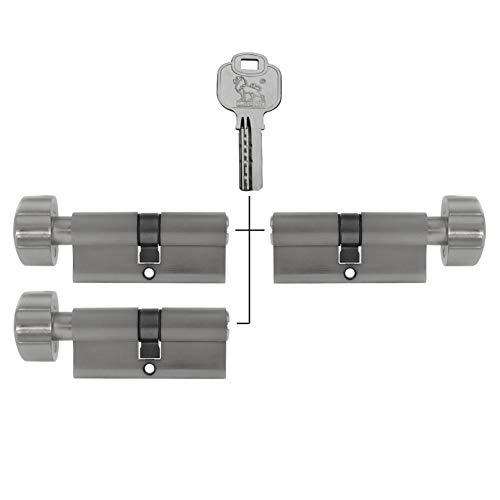 3x Zylinderschloss 60 mm gleichschließend mit Knauf KD (mit Not- und Gefahrenfunktion) inkl. 15 Wendeschlüssel (30x30 mm)