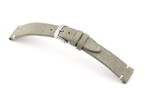 RIOS1931 Hudson Mod. 155 - Correa de reloj para hombre (piel de ante auténtica, ancho 18 mm, longitud 114/82 mm), color gris