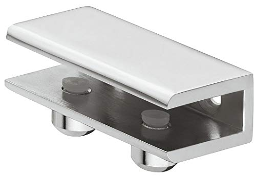 Gedotec Glasbodenträger Edelstahl Regalbodenträger Glas und Holz - Cube | Tablarträger für Tablardicke 8–10 mm | Wand-Halterung mit Tragkraft 24 kg | 1 Stück - Design Regalträger aus Metall