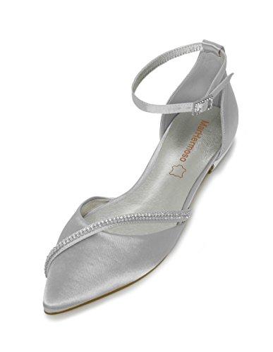 MarHermoso Damen Elegante Ballerinas Satin Ankle Strap Silber Abendschuhe Brautschuhe (39 EU, Silver)