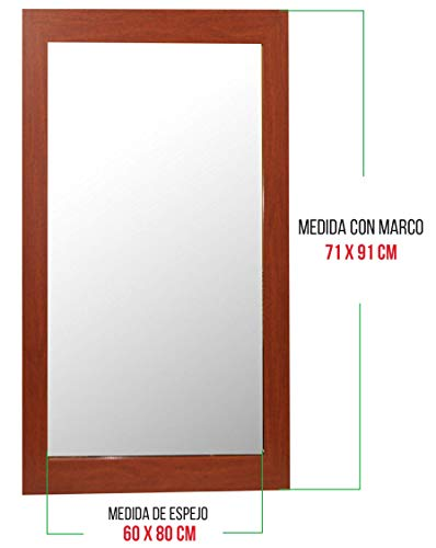 Chely Intermarket, Espejo de Pared Cuerpo Entero 60x80cm (Marco Exterior 71x91cm) (Marrón) MOD-113 | Forma Rectangular | Decoración de salón, recibidor, Dormitorio | Acabado Elegante (113-60x80-6,10)