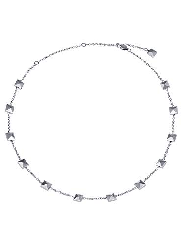 Breil - Necklace for Women Rockers Jewels Collection TJ2810, Woman Roundneck in Polished Steel with Square Studs - Lenght 48 cm