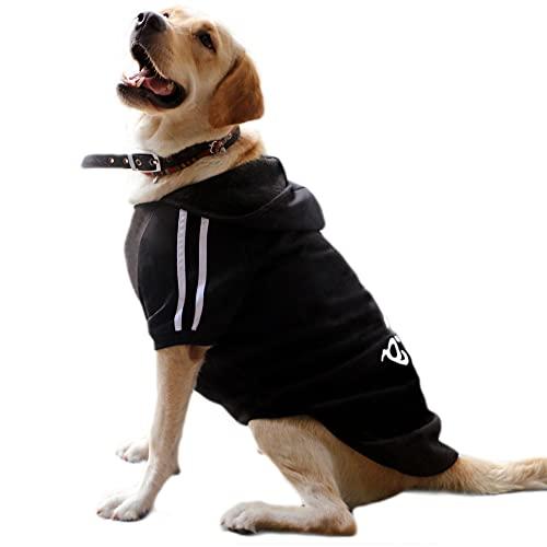 Eastlion Hunde Warm Hoodies Mantel Kleidung Pullover Haustier Welpen T-Shirt Schwarz 4XL