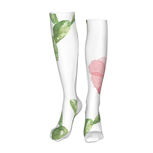 Vilico Casual Rodilla Altas Medias Sobre la Rodilla Calcetines Largos Cactus Flor Rosa Acuarela Floral Unisex Deportes Para Hombres Mujeres