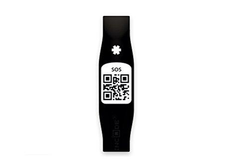 Silincode SOS - Pulsera de socorro, color negro
