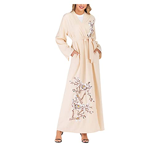 Lazzboy vintage damen abaya long maxi dre arab jilbab muslim robe islamic kaftan muslim kleider, damen lange arabische muslimische islamischer dubai kleidung(orange,2xl)