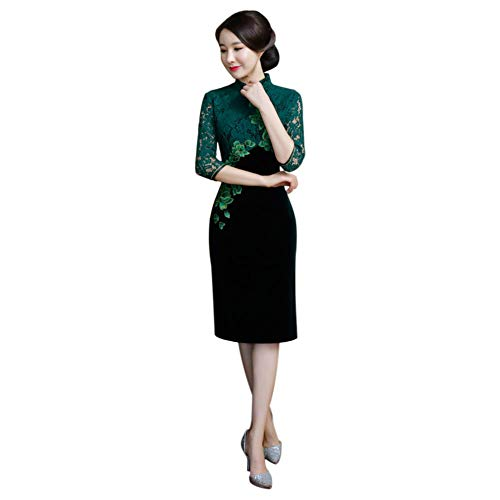 Xinvision Qipao Chino Vintage para Mujer - Vestido de Bordado Floral Slim Cheongsam