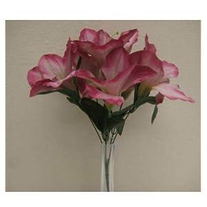 Artificial Silk Flowers Mauve Amaryllis 16″ Bouquet Get 2 Bushes MG019