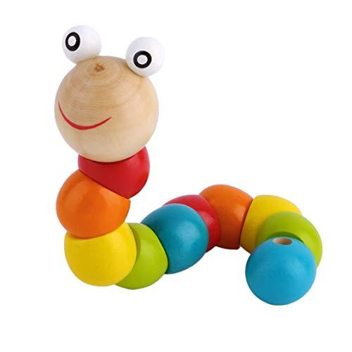 Jessicadaphne Holz Twisty Wiggly Wurm Multicolor Sensory Kids Kinder Jungen Mädchen Bunte Holzwurm Sensory Holzperle Spielzeug