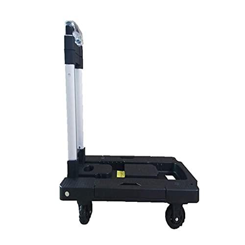 Carrito de la compra Carrito plegable Carro de compras portátil de construcción robusta de 4 ruedas Compacto y liviano Adecuado para carrito de equipaje Carrito de compras de viaje (Color: Negro, Tama
